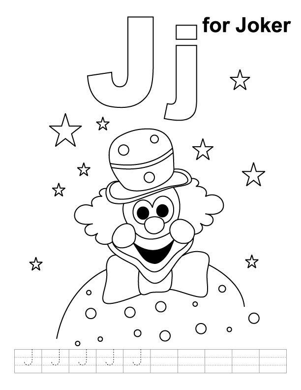 J for joker coloring page with handwriting practice | Download ...
