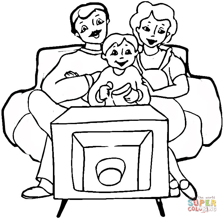 Family in Front of tv Coloring Online | Super Coloring