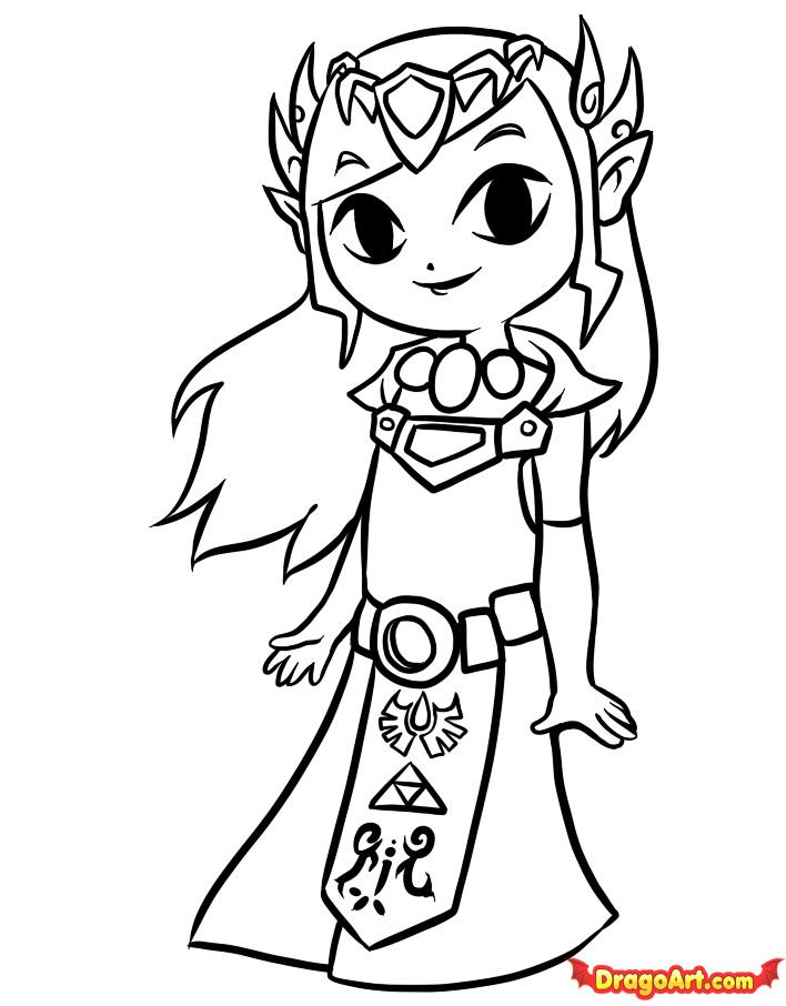 How to Draw Toon Zelda, Step by Step, Video Game Characters, Pop ...