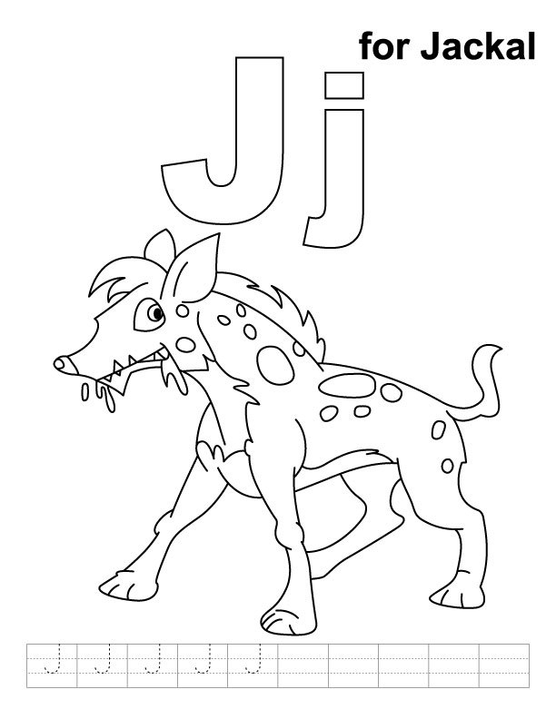 J for jackal coloring page with handwriting practice | Download ...