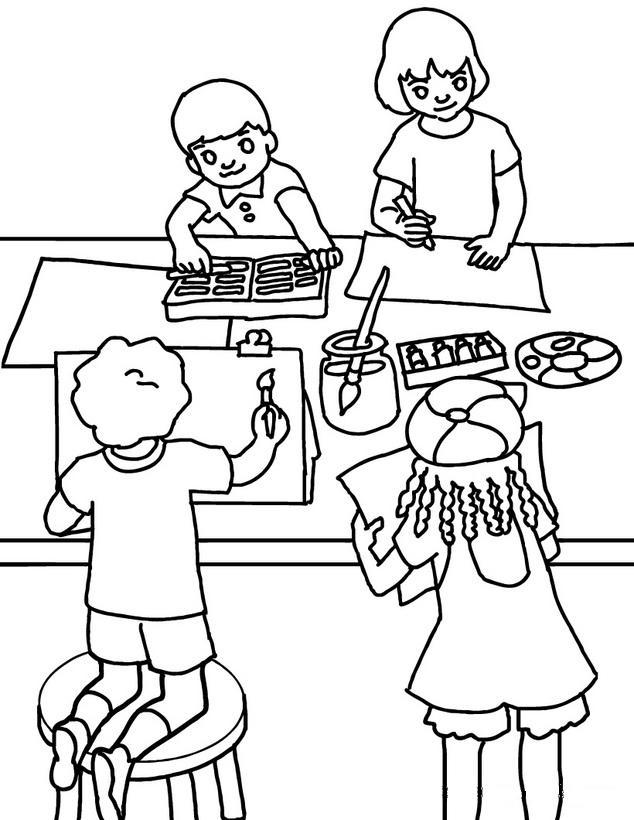 Dibujos De Niños En La Escuela Para Colorear - AZ Dibujos para colorear