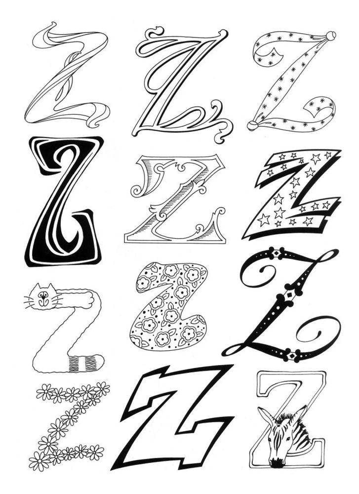 Abecedario Para Imprimir Colorear Letra Z Az Dibujos Para