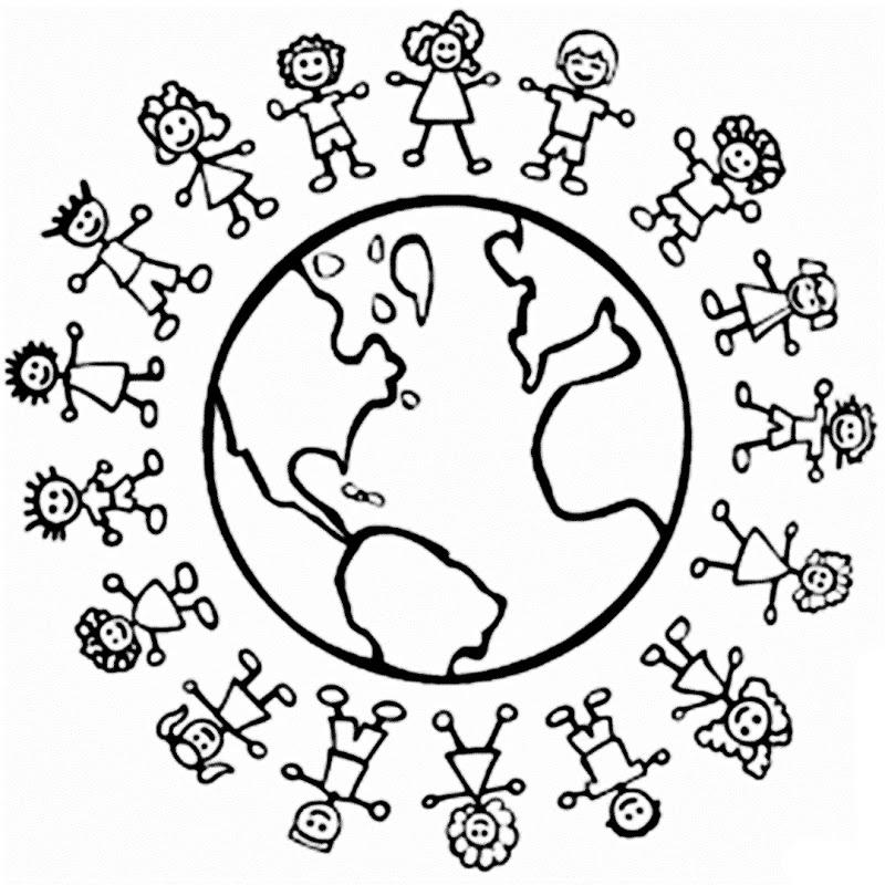 Dibujo Niños Del Mundo Para Colorear Imprimir   AZ Dibujos para