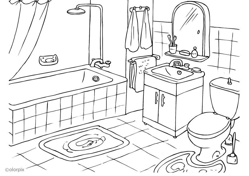 Baños Infantiles Para Colorear:Bathroom Coloring Pages