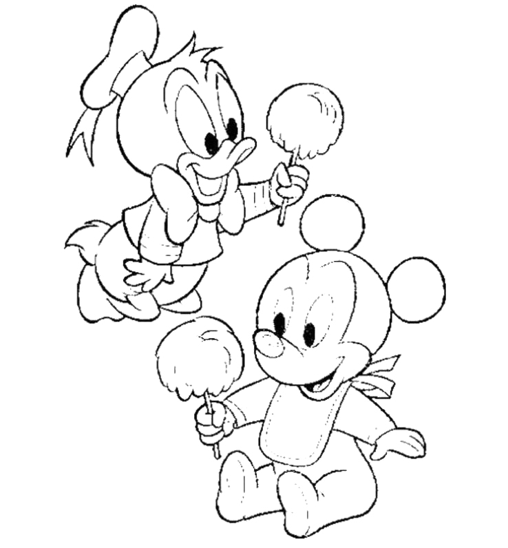 Baby Mickey Mouse Eating Cotton Candy Coloring For Kids - Cotton ...