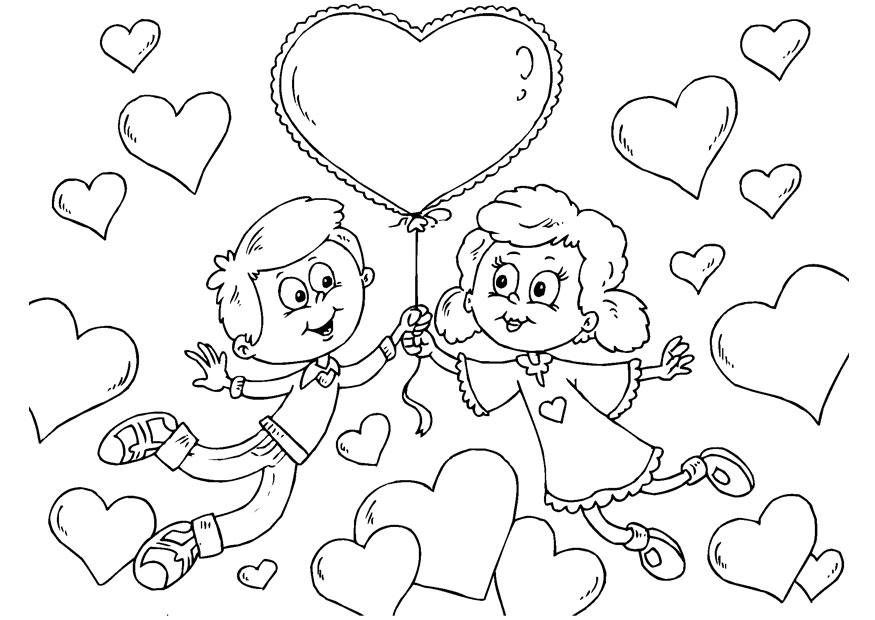 Dibujo San Valentin Enamorados Para Colorear - AZ Dibujos para colorear
