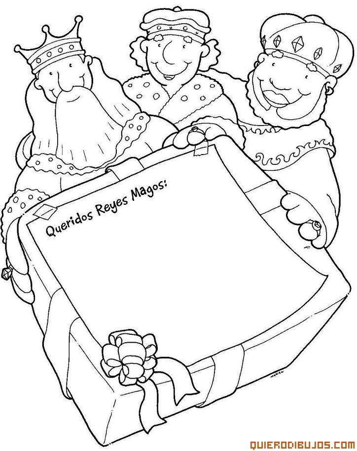 Carta A Los Reyes Magos Para Colorear - AZ Dibujos para colorear