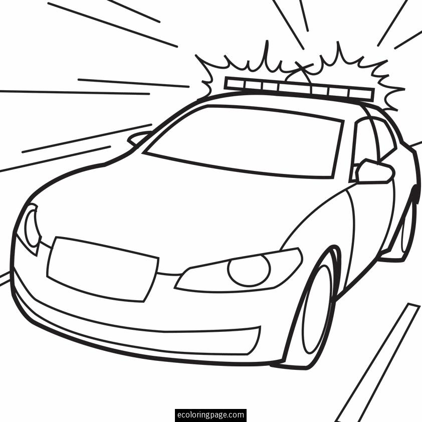 Police Car in Action Printable Coloring Page | ecoloringpage.com ...