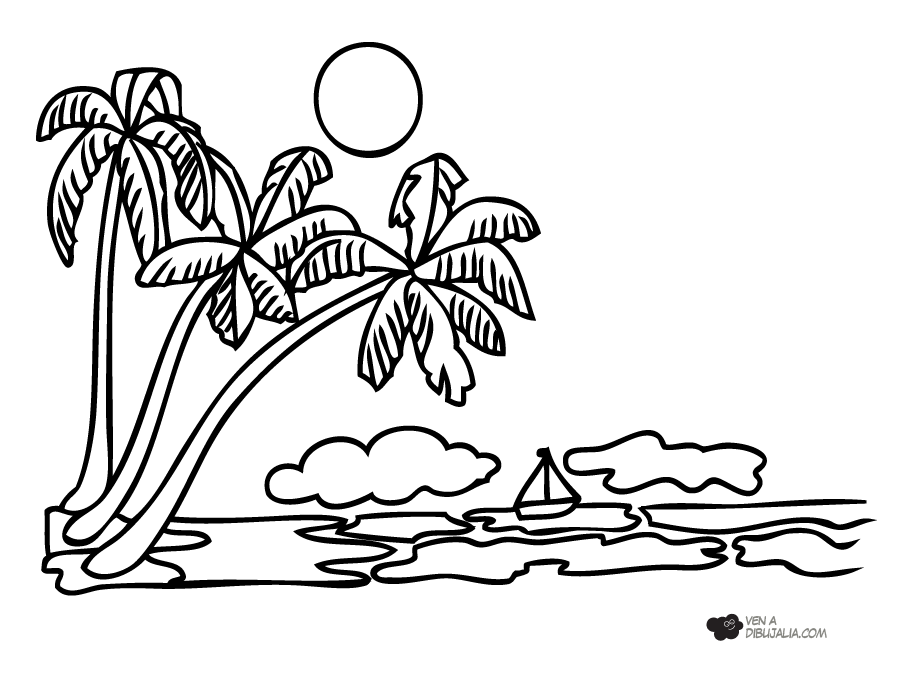 Dibujo De Paisaje Marino Para Colorear: Isla Para Colorear Gallery