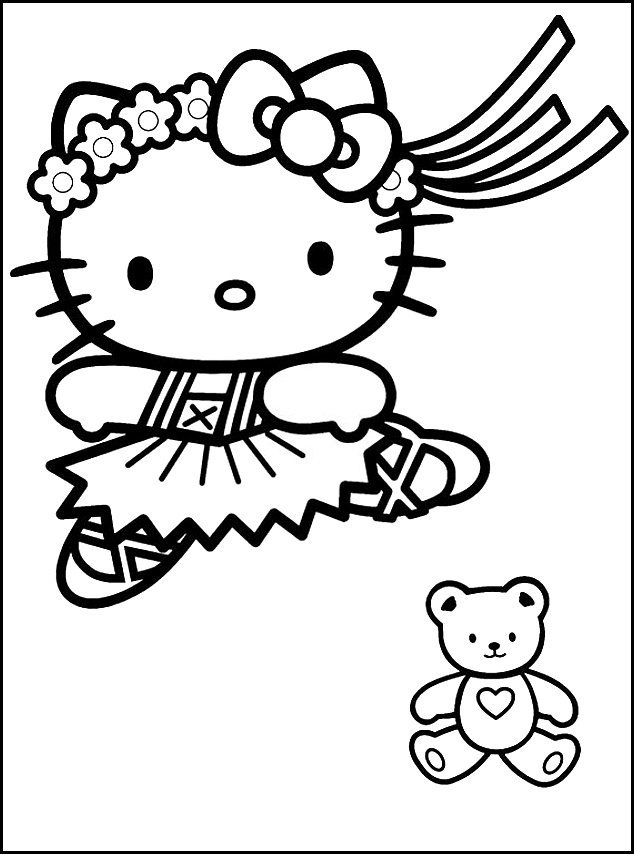 Dance Hello Kitty and Bear Coloring Pages | The Coloring Pages