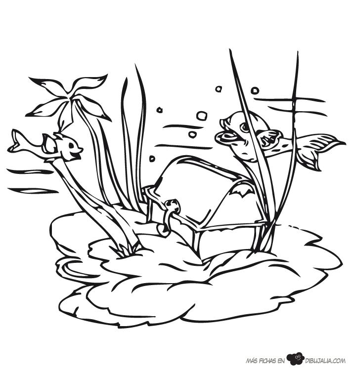 Dibujos Animados Fondo Del Mar Tesoro en Fondo Del Mar
