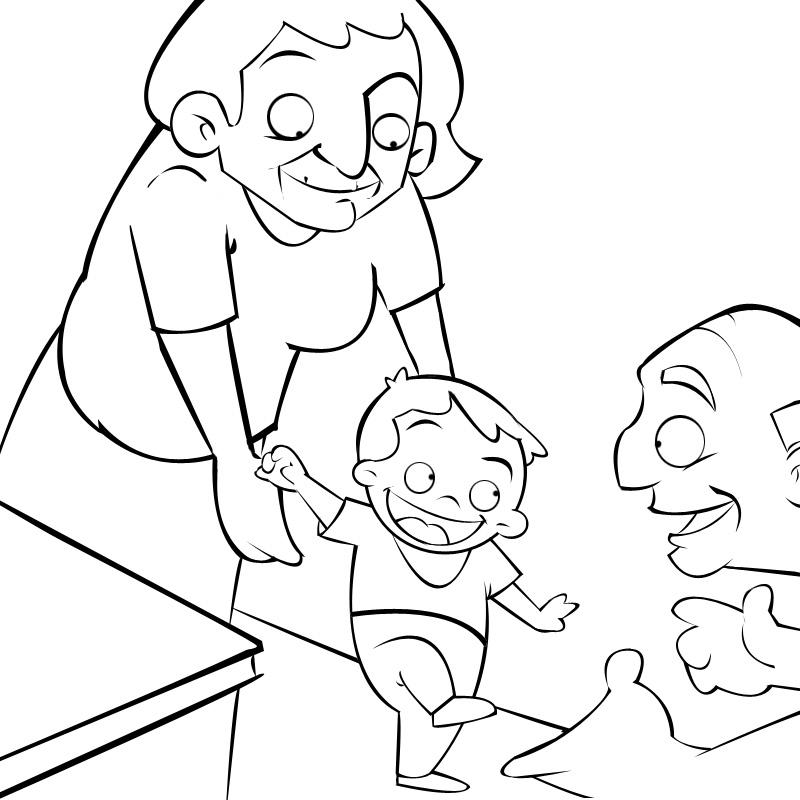 Dibujos Niños Caminando - AZ Dibujos para colorear