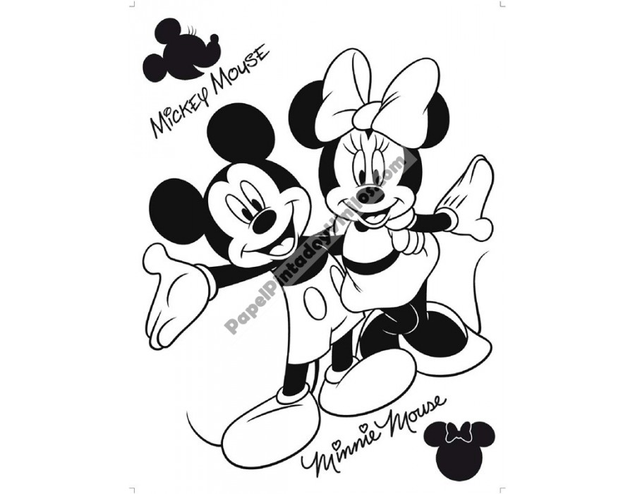 Sticker Disney Mickey y Minnie Mouse de Terciopelo DK875