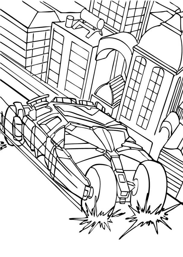 BATMAN coloring pages - Batman's car in the city