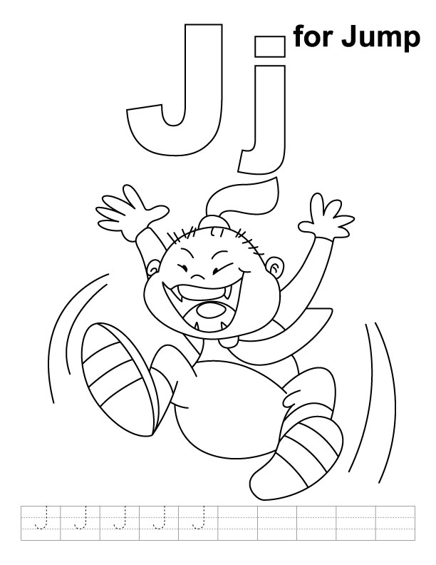 J for jump coloring page with handwriting practice | Download Free ...