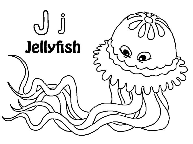 can you find letter J on Jellyfish coloring page - Download ...