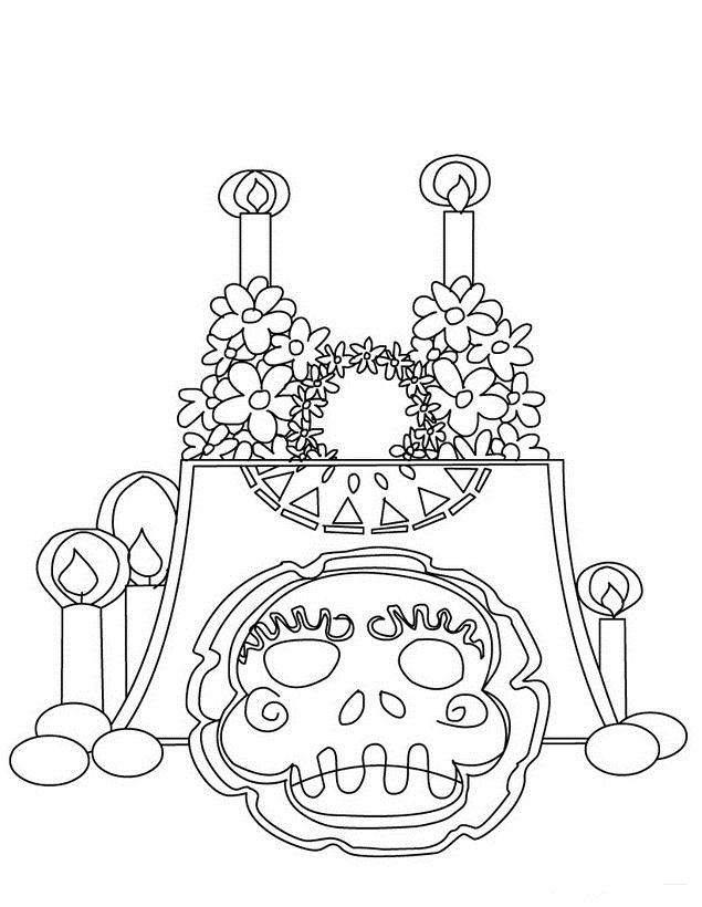 Dia De Muertos Para Colorear Az Dibujos Para Colorear