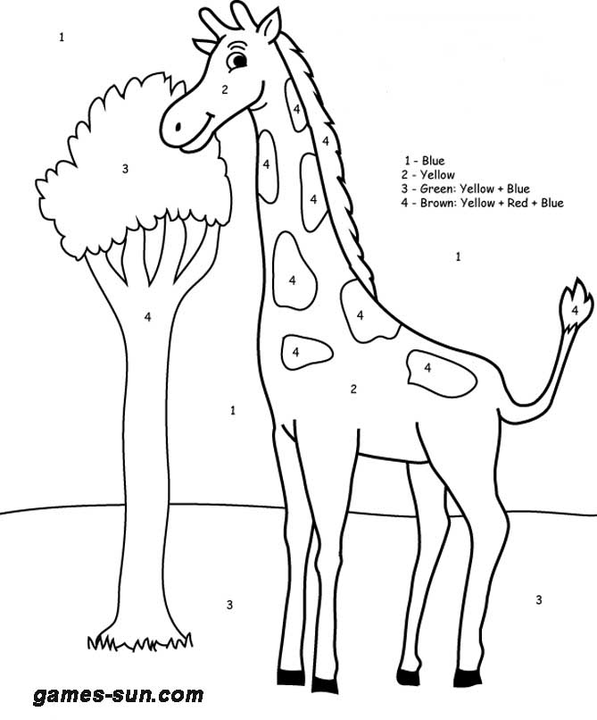 giraffe coloring by numbers - games the sun | games site flash ...