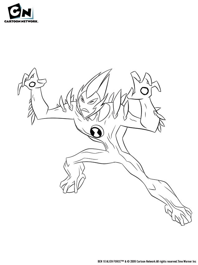 Coloriage BEN 10 ALIEN FORCE - Coloriage de Sauvage