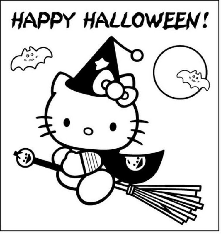 Hello Kitty in halloween - free coloring pages | Coloring Pages