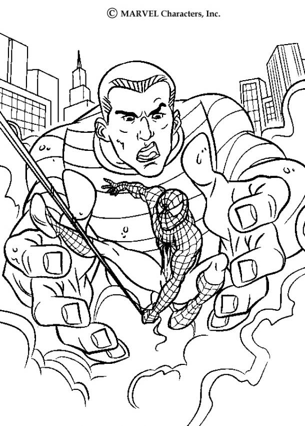 SPIDER-MAN coloring pages - Sandman in action