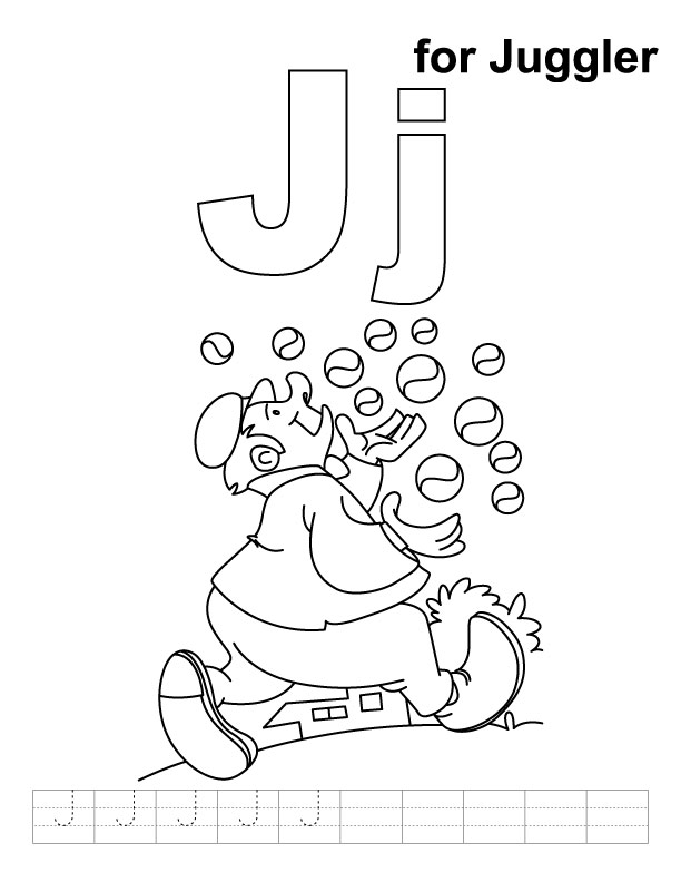 J for juggler coloring page with handwriting practice | Download ...