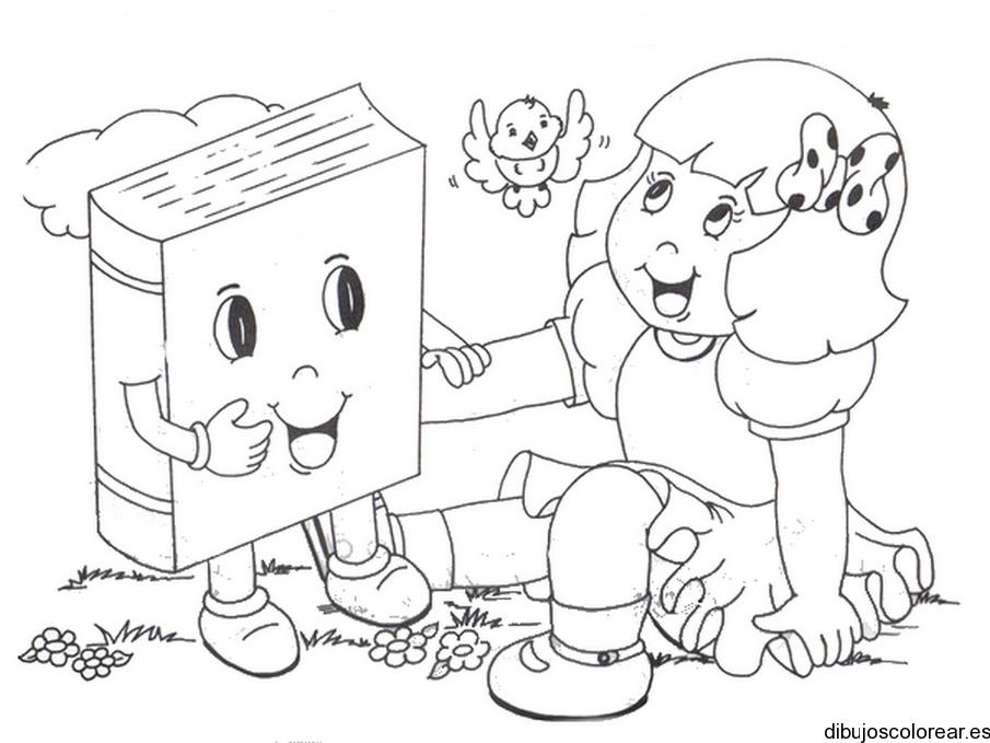Dibujos De Niños Con Libros - AZ Dibujos para colorear