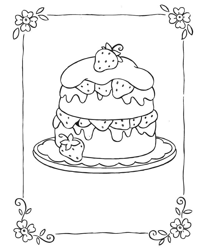 Dibujos Para Colorear Tarta De Fresa - AZ Dibujos para colorear