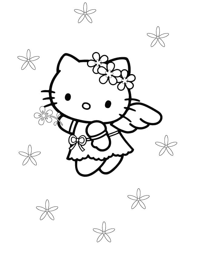 Hello Kitty Angel Para Colorear